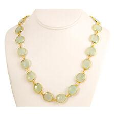 Natural Chalcedony Necklace Soft Pale Green Bezel Set 14k gold chain Vermeil 24