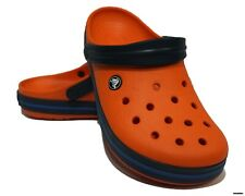CROCS CROCBAND (TANGERINE / NAVY) RELAXED FIT CLOGS MEN 8 (EUR 41-42)