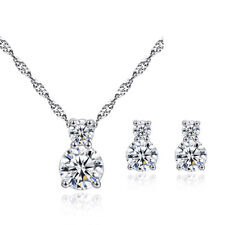 18K White Gold Plated AAA+ Clear Cubic Zircon Cute Kitty Cat Kids Jewelry Sets