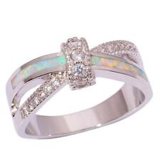 White Fire Opal Zircon Silver Fashion Women Jewelry Gemstone Ring Size 12 OJ8638