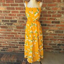 Malia Honolulu Vtg 60s 70s Hawaiian Yellow Daisy Floral Maxi Dress Sz 10 EUC