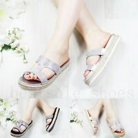 Ladies Diamante Slip On Sandals Flatform Sparkly Platform Summer Sliders Size UK