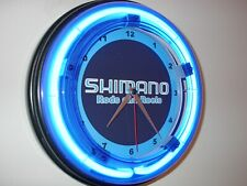 *Shimano Fishing Reel Pole Man Cave Blue Neon Advertising Wall Clock Sign