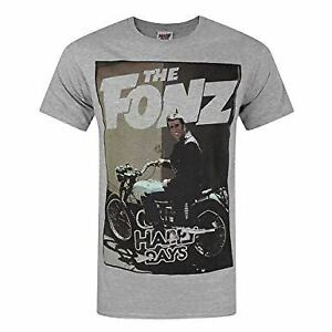 Happy Days The Fonz Men's T-shirt Grey Official Licensed TV Large