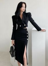 Black double breasted gold button crop jacket blazer pencil skirt suit outfit 2