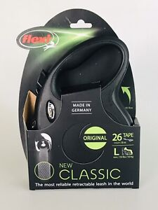 Flexi Comfort Retractable 26 ft Tape Leash BLACK Large  up to 110 lbs. NEW