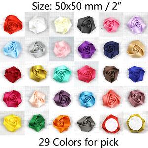 """5/100Pcs 2"""" Large Rose Satin Ribbon Flowers Wedding Appliques Sewing DIY Craft"""