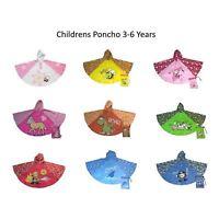 Childrens Poncho Waterproof Kids Raincoat Rain Cover 3-6 Years Various Designs