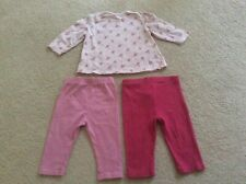 BABY GIRL PINK 2 x LEGGINGS & TOP BUNDLE AGE 3-6 MONTHS NEXT M&S GEORGE FREE P&P
