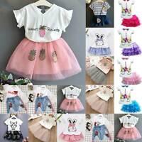 Cute Kids Girls Shirt Tops Tutu Set Dress Princess Outfit Party Summer Clothes