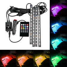 4x RGB Car LED Interior Strips 12 SMD Atmosphere Under dash Accent Light Kit G2