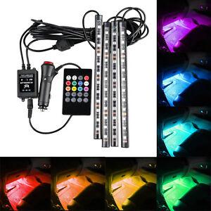 4x RGB Car LED Interior Strips 12 SMD Atmosphere Under dash Accent Light Kit G2
