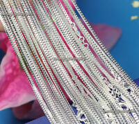 """Wholesale 10pcs 925 Sterling Solid Silver Plated 1mm Box Chain Necklace 16""""-24"""""""