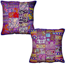 2pc set Purple Vintage Bohemian Indian throw Pillow Purple ethnic indian pillow