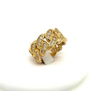 Mens Cuban Ring 10kt Yellow Gold .80ct White Sapphire