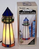 "LOVELY TIFFANY STYLE STAINED GLASS LIGHTHOUSE 10"" ACCENT LAMP/NIGHT LIGHT IN BOX"
