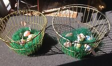 Two Vintage Wire Metal Egg Baskets Crates Yellow In Color