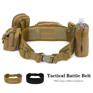 Tactical Airsoft Molle Battle Belt Army Padded Combat Webbing Belt Waist Belt UK