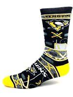 Pittsburgh Penguins Hockey Ugly Christmas Sweater Crew Sock Black Yellow