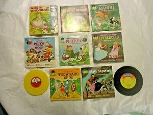 Lot of 6 Vintage Disney Read Along Books with Records, 2- Loose Records 2- Books