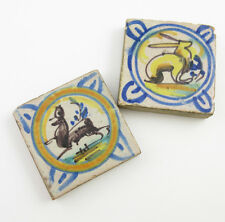 2 Vintage Hand Decorated 2-3/4 inch Figural Ceramic Tiles - rabbit deer