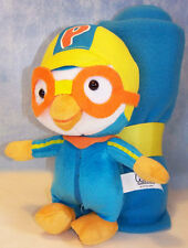 "New Pororo Toy The Little 9"" 23 cm Penguin Doll + Plush Blanket Bonus Korean Air"