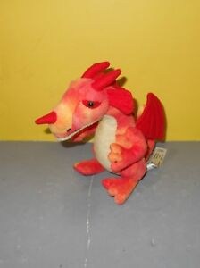 FAO Schwarz Toys R Us Red Dragon Orange Tie Dye Plush Stuffed Animal Soft Toy