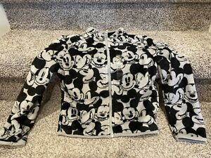 Disney Store Boy's Long Sleeve Mickey Print Black/Gray Fleece Jacket Size: 5/6