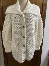 Talbots Popcorn Knit Chunky Sweater Cardigan Sz Large Wool Alpaca Fisherman