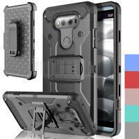 Shockproof Rugged Hybrid Holster Case Kickstand Armor Cover Belt Clip For LG V20