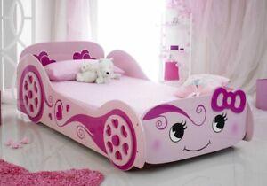 PINK GIRLS SINGLE 3FT BED  + MATTRESS GIRL'S CHILDREN'S NOVELTY KIDS