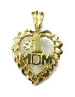 10k Yellow Gold Diamond Cut #1 Mom Heart Charm Necklace Pendant ~ 0.7g
