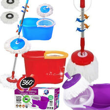 360 DEGREE SPINNING MOP BUCKET HOME CLEANING WITH 2 MOP HEADS RED, BLUE & PURPLE