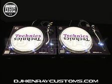 2 custom Chameleon Purple Technic SL1200 MK2's White leds dj turntables int grnd