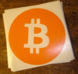 (Small) BitCoin contour cut vinyl sticker / decal - Orange - 50mm