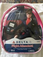 "NEVER OPENED Vintage Delta Flight Attendant 11-1/2"" Doll  Uniform +Case+Luggage"