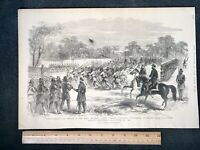 1884 Civil War Engraving, 1st REGIMENT COLORED PARADE HILTON HEAD SOUTH CAROLINA