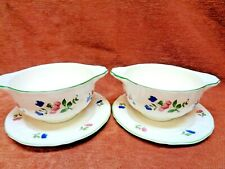 GIEN 2 CREAM SOUPS AND UNDERPLATES LORRAINE ROSE GREEN   FREE SHIPPING