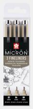 Sakura Pigma Micron   Assorted Line Widths   Pack 3   Black