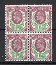 EDWARD VII 11/2d UNMOUNTED MINT BLOCK OF 4