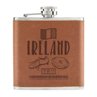 Rugby Ireland 6oz PU Leather Hip Flask Tan - Funny Union Shamrock Flag