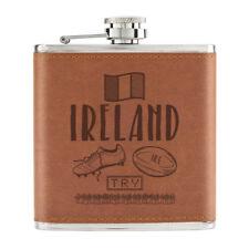 Rugby Ireland 6oz PU Leather Hip Flask Tan - Funny Union Shamrock Flag
