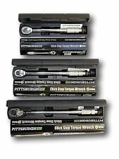"""Set of 3 1/4"""" 3/8"""" 1/2"""" Torque Wrench Drive Click Type Snap Socket"""