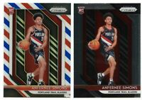 2x 2018-19 Panini Prizm ANFERNEE SIMONS Red White Blue + Base Rookie Cards!