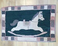 "Antique 39.5"" x 26.5"" Hand Hooked Rug in Green, Cream and pink, Rocking Horse"
