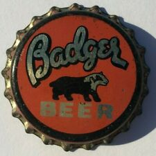 BADGER BEER BOTTLE CAP 1933-43; WHITEWATER, WISCONSIN; UNUSED CORK