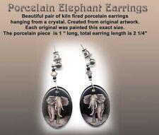 Artist Reproduction Elephant Porcelain Earrings