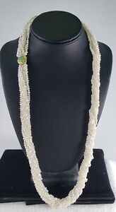 18K Gold, Jade with Diamond 30 inch, nine Strand Pearl Necklace DS29