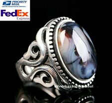 Turkish 925 Sterling Silver Natural Original Yemeni Agate Aqeeq Solid Men Ring 5
