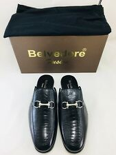 Belvedere Ray Men's Slippers Genuine Ostrich Italian Calf Black 4002 Size 11